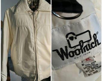 SALE! Vintage 70s Woolrich Ski Jacket Bone Off-White XL Tie-On Hood