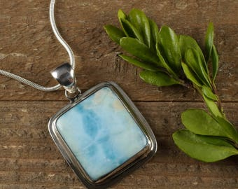 4cm LARIMAR Pendant - Larimar Cabochon in Sterling Silver, Larimar Necklace, Larimar Jewelry, Larimar Stone, Sterling Silver Jewelry J1094