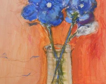 Oil painting on paper-Oil painting-Modern Oil Painting- Flowers painting-Original realistic painting-Vase with flowers-Original wall  art