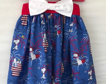 Snoopy Peanuts 4th of July Dress, Patriotic Dress, Baby Girl Dress, Little Girl Dress, Red White Blue, Toddler Dress, Big Bow Dress