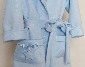 3-girl-fabric ROBE SMOKING carving claro-bata blue padded sleeve larga-bata with cinturon-bata with bolsillos-bata warm BML01