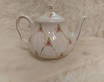 Vintage Sadler Teapot, Rosebud chintz and gold hand painted, Marked J632C Wedding Gift, Gold Trim, Regency, Victorian, Photo Prop, staging