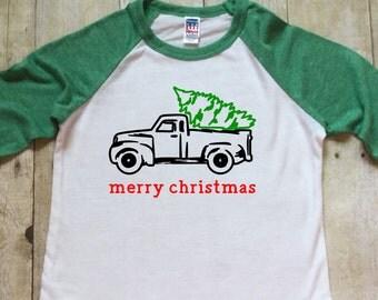 Boys Christmas Shirt-Christmas Baseball Shirt-Green Christmas Shirt-Green Pick Up Truck-Hipster-Christmas Shirt-Made in USA