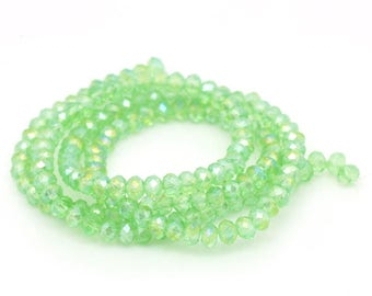 70 green clear glass 4mm faceted beads / oval beads