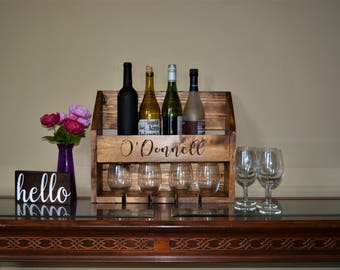 Custom Wine Rack / Personalized Wine Rack / Wine Glass Holder / Wine Box / Rustic Wine Rack / Wall Mounted Wine Rack / Wedding Gift Set