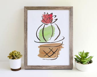 Barrel Cactus Art Print, Cactus Drawing, Succulent Art Print, Succulent Drawing, Botanical Art, Gift for Gardener, Gardening Art, Plant Art
