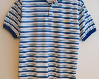 70's The Men's Store at Sears Blues, Green, White Striped Unicorn Polo