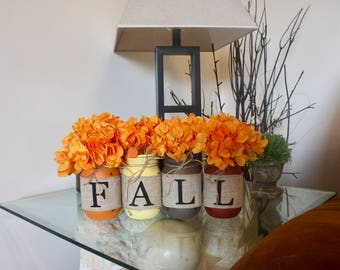 Fall Mason Jar Decor. Fall Mason Jars. Fall Table Centerpiece. Thanksgiving Centerpiece. Mason Jar Decor. Autumn Mason Jar Decor. Fall Decor