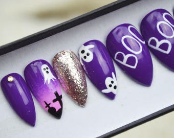 Halloween nails, boo ghost cemetery nails LUXURY PRESS ON, glue on nails, handpainted nails, stiletto nails
