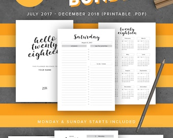 "2017-2018 Printable Planner Agenda Bundle, US Letter Size Inserts 8.5"" x 11"", Day Organizer, Back to School Planner September August Start"