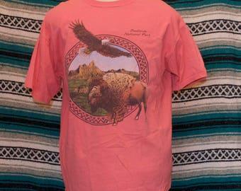 Vintage Badlands National Park Single Stitch Tourist Shirt XL X-Large Cotton Pink