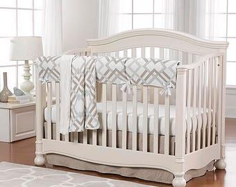 Easton Linens Bumperless Crib Bedding | Gender Neutral Baby Bedding | Modern Baby Bedding | Gender Neutral Nursery | Gray & Taupe Nursery
