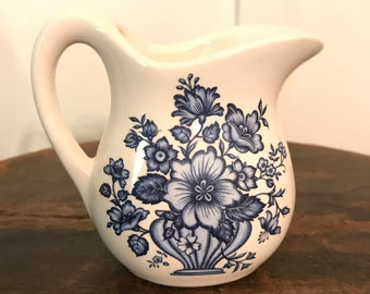 Vintage USA Pottery Blue and White Floral Patterned Individual Creamer
