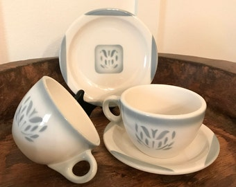 Vintage Syracuse China Restaurant Ware Cups and Plates with Gray Blue Airbrushed Tulip Pattern