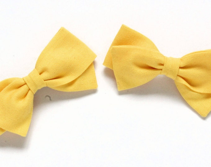 Pigtail Bows for toddlers - Yellow Hair Bow - 2 Pigtail Bows - Hair accessories for braids