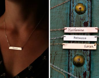 Rose Gold Bar Necklace Silver Bar Necklace Custom Bar Jewelry • Layering Bar Pendant Nameplate Handstamped • Sterling Silver Bar