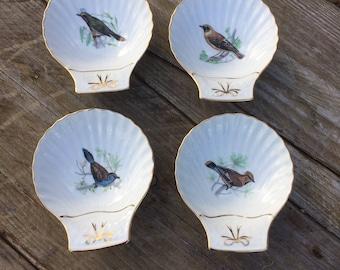 Vintage French Lourioux Le Faune Porcelain Set of Four Bird Motif Scallop Dishes, Oven Proof.