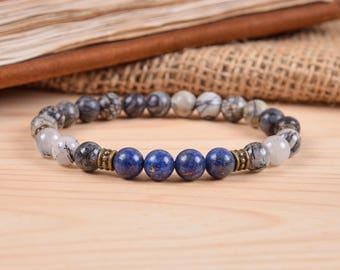 Mens bracelet boyfriend gift for men jewelry beaded bracelet men healing bracelet energy bracelet gifts under 20 gray bracelet calming stone