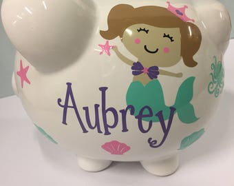 Personalized Piggy Bank-Piggy Bank-mermaid piggy bank-childrens personalized piggy bankceramic piggy bank -new baby gift-piggy bank girl