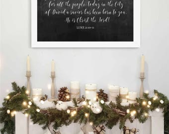 Luke 2 Verse, Christian Christmas Printable, Instant Download, Mantle Styling, Bookshelf Styling, Entryway, and more. Two prints for 1!