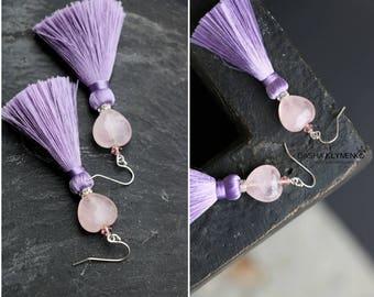 pink bead earrings fringe jewelry handmade purple earrings women long dangles pink crystal earrings bohemian purple jewelry tassel drop