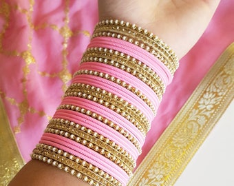 Baby Pink Bangles - Pink and Gold Bangles Set - Indian Bangle Bracelets, Indian Jewelry, Blush Pink Bridal Bangle Set for Indian Wedding