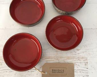 Mid Century, Red Glaze, Ceramic Dish Set of 4