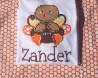 Boy thanksgiving shirt, turkey shirt, boy turkey shirt, football turkey shirt, turkey with football, first thanksgiving, football shirt