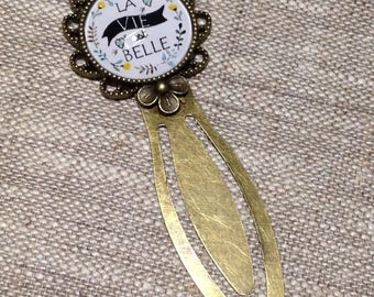 Bookmark cabochon bronze - MOM - gift - Christmas - life is beautiful