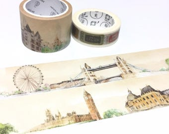 UK london landscape World landmark washi tape 5M wide tape The london eye Tower of london big ben vintage building travel planner sticker