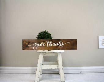 give thanks sign, give thanks wood sign, give thanks wooden sign, custom sign, custom wood sign, custom wooden signs