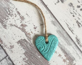 Green Clay Mini Heart Tag - hanging heart, clay tag, ceramic tag, handmade heart, cottage chic, jar tags, gift wrapping tag, heart charm
