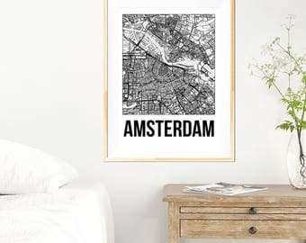 Amsterdam City Map Print - Black and White Minimalist City Map - Amsterdam Map - Amsterdam Art Print - Many Sizes/Colours Available