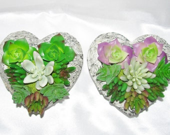 Gift for Everyone, Heart-Shaped Cement Succulent Planter, Faux Succulent Arrangement, Artificial Succulent Gift,