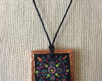 Handmade sunburst mandala pendant, Unique spiritual jewelry, Artistic painted necklace, Bohemian accent jewelry, Gift for women