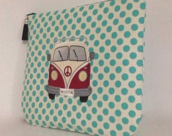 Custom, personalised, appliqued and embroidered retro style camper van clutch, cosmetic bag, pencil case, zipper bag