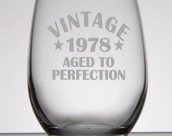 40th Birthday Gift for Women, 40th Birthday Gift for Men, Vintage 1978, 50th Birthday Gift, 60th Birthday Gift, 70th Birthday Gift, 80th