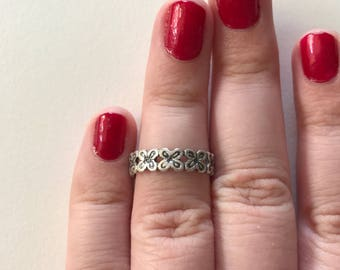 Vintage 925 Sterling Silver Filigree Flower Open Eternity Band Ring Toe Ring