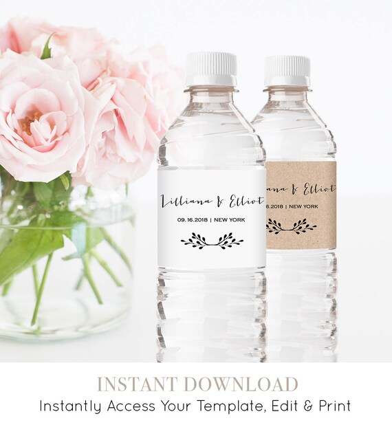 Water Bottle Wrapper Template, Welcome Bag Favor, Rustic Wedding Bottle Label Printable, Instant Download, 100% Editable, DIY #031-101BL
