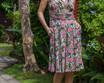 Poppy Dress,  Retro Dress, Vintage Inspired, V-Neck Dress, Feminine Dress, Summer Dress, Spring Dress, 124-139