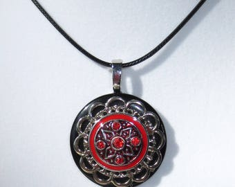 Red Rhinestone Button Necklace, Red Rhinestones, Pendant Necklace, Jewelry, Button Necklace, Pendant Necklace, 18 inch Leather, Red Enamel
