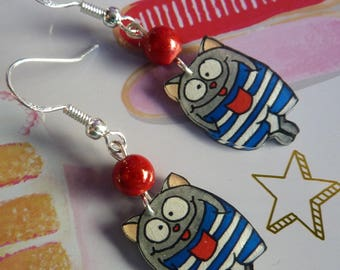 Earrings silver sterling 925 cat kawaii crazy crazy plastic striped sailor blue and white and Red miracle bead