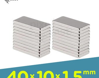 20 Pack - Neodymium Magnets -  40mm x 10mm x 1.5mm Diameter - Craft Magnets Super Strong Skinny Magnets