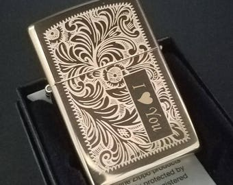 Brass Venetian Zippo Lighter Custom Engraved with Text and FREE Flints - Grat Personalized Gift Idea!