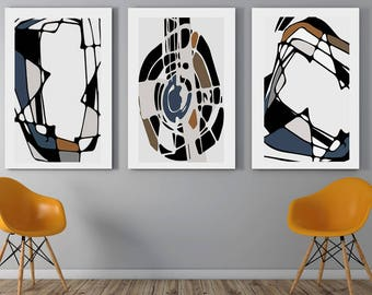 wall portraits living rooms. Abstract Print Modern Art Triptych Wall Illustration Set of 3 Prints  Living Room wall art Etsy