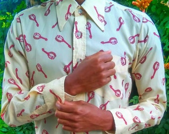 Vintage Men's Western Shirt with a Banjo Musical Print // Yellow Button Down Shirt // See Through Long Sleeve Clothing //