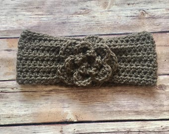 Flower Headband - Taupe, 100% Acrylic Yarn