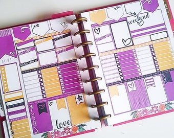 Purple Love Planner Stickers - Printable 2 page Weekly Kit Sized for Classic Happy Planner, Digital Download, 80s / 90s inspired