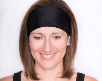 Solid Black Headband - Yoga Headband - Workout Headband - Headwrap