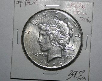 1926 Peace Silver Dollar AU Free Shipping